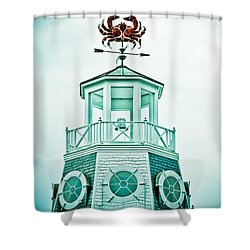 Crabby Weathervane Shower Curtain by Marilyn Hunt