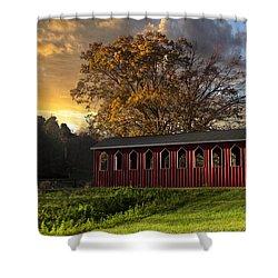 Crack Of Dawn Shower Curtain by Debra and Dave Vanderlaan