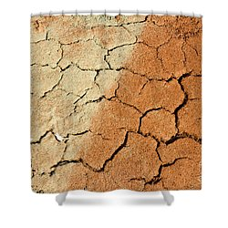 Shower Curtain featuring the photograph Cracked Soil In Red Shades by Les Palenik