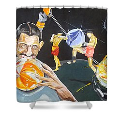 Shower Curtain featuring the painting Cracking Marvels Cascando Canicas by Lazaro Hurtado