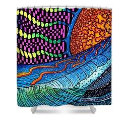 Crackle Sun Shower Curtain by Sam Bernal