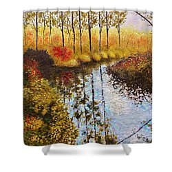 Cranberry Bog Shower Curtain by Jason Williamson