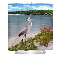 Shower Curtain featuring the digital art Crane By The Sea Shore by Anthony Fishburne