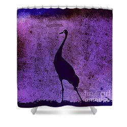 Crane In Vintage Plum Shower Curtain by Anita Lewis