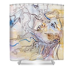 Cranes Shower Curtain by Alexandra Louie