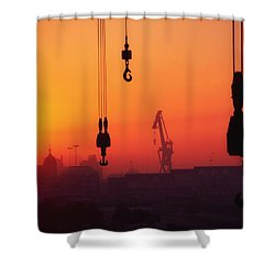 Cranes At Sunset Shower Curtain by The Irish Image Collection