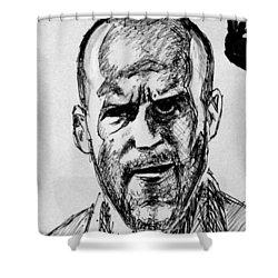 Shower Curtain featuring the painting Jason Statham by Salman Ravish