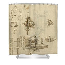 Crank Spinning Machine With Several Details Shower Curtain