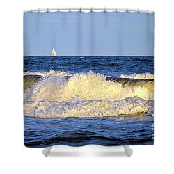 Crashing Waves And White Sails Shower Curtain