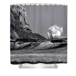 Crashing Waves At Cabrillo By Denise Dube Shower Curtain