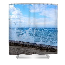 Crashing Waves In Cozumel Shower Curtain by Debra Martz