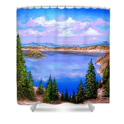 Crater Lake Oregon Shower Curtain by Patrice Torrillo