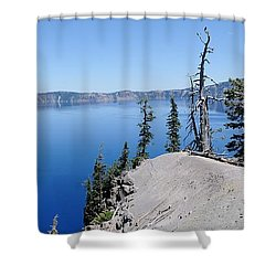 Crater Lake Scenic Panorama Shower Curtain by John Kelly