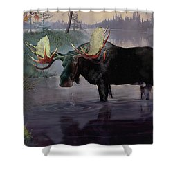Craven Moose Shower Curtain