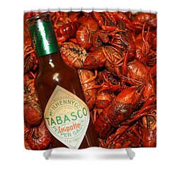 Crawfish And Tabasco Shower Curtain by Donna G Smith