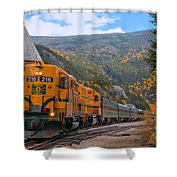 Crawford Notch Train Depot Shower Curtain