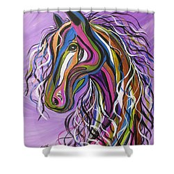 Shower Curtain featuring the painting Crazy Horse by Janice Rae Pariza