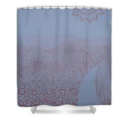 Shower Curtain featuring the drawing Crazy Quilt Star Gown by Thomasina Durkay