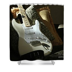 Cream Guitar Shower Curtain