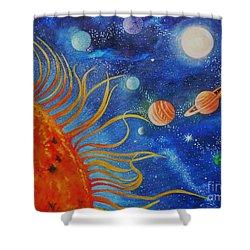 Creation Fourth Day Moon Sun Stars Planets Shower Curtain by Caroline Street