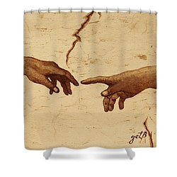 Creation Of Adam Hands A Study Coffee Painting Shower Curtain by Georgeta  Blanaru