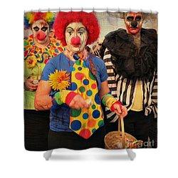 Creepy Clowns Shower Curtain by Lilliana Mendez