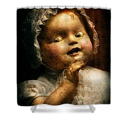 Creepy - Doll - Come Play With Me Shower Curtain by Mike Savad