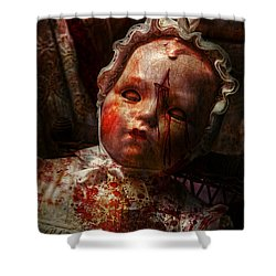 Creepy - Doll - It's Best To Let Them Sleep  Shower Curtain by Mike Savad