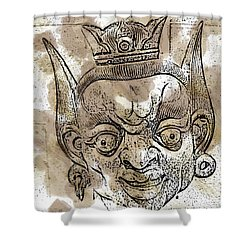 Creepy Mask Shower Curtain by Alice Gipson