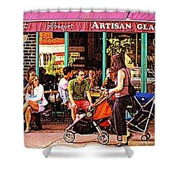 Creme Glacier Bilboquet Rue Bernard French Sidewalk Cafe Scene Montreal Art Work  Carole Spandau  Shower Curtain by Carole Spandau