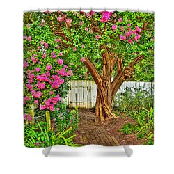 Shower Curtain featuring the photograph Crepe Myrtle In Wiliamsburg Garden by Jerry Gammon