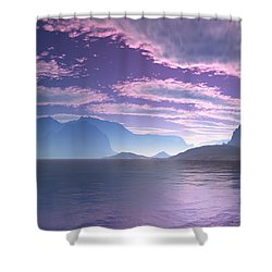 Shower Curtain featuring the digital art Crescent Bay Alien Landscape by Judi Suni Hall