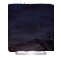 Crescent Moon And Venus Rising Shower Curtain
