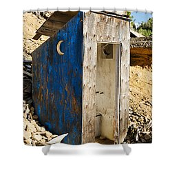 Shower Curtain featuring the photograph Crescent Moon Outhouse by Sue Smith