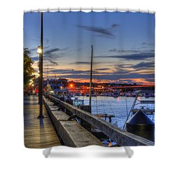 Crescent Moon Over Newburyport Harbor Shower Curtain by Joann Vitali