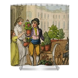 Cries Of London The Garden Pot Seller Shower Curtain by Thomas Rowlandson