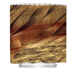 Crimson And Gold Shower Curtain by Mike  Dawson