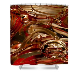 Crimson And Gray Glass Macro Ws4 Shower Curtain by David Patterson