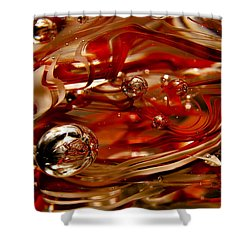 Crimson And Gray Glass Macro Ws6 Shower Curtain by David Patterson