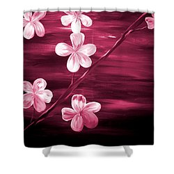 Crimson Cherry Blossom Shower Curtain by Mark Moore