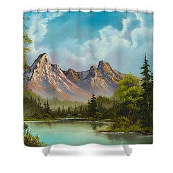 Crimson Mountains Shower Curtain by C Steele