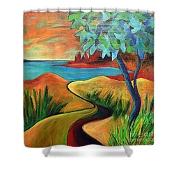 Crimson Shore Shower Curtain by Elizabeth Fontaine-Barr