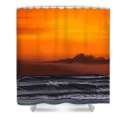 Shower Curtain featuring the drawing Crimson Sunset by Anthony Fishburne