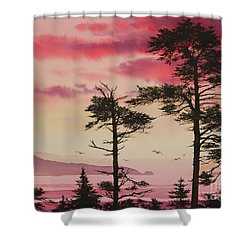 Crimson Sunset Splendor Shower Curtain by James Williamson