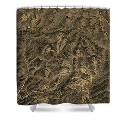 Antique Map - Cripple Creek Mining District Birdseye Map - 1895 Shower Curtain