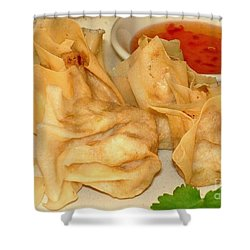 Shower Curtain featuring the photograph Crispy Chicken Parcel by Katy Mei