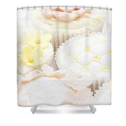 Criss-cross Cupcake Shower Curtain by Anne Gilbert