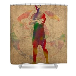 Cristiano Ronaldo Soccer Football Player Portugal Real Madrid Watercolor Painting On Worn Canvas Shower Curtain