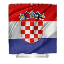 Croatian Flag Shower Curtain by Les Cunliffe