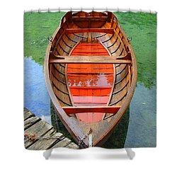 Croatian Rowboat Shower Curtain by Ramona Johnston